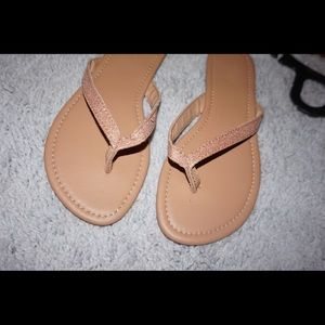 Brown/ pink glitter sandals